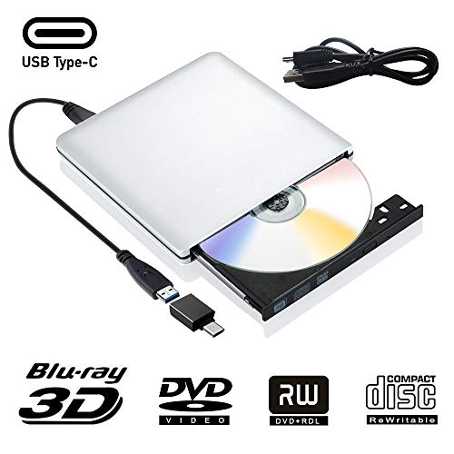 External Blu Ray DVD Drive 3D, USB 3.0 and Type USB C Bluray DVD CD RW Row Burner Player Rewriter Compatible for MacBook OS Windows 7 8 10 PC iMac