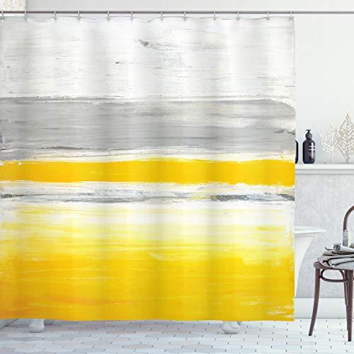 ABAKUHAUS Gelb Duschvorhang, Aquarell Abstrakte Kunst, Hochwertig mit 12 Haken Set Leicht zu pflegen Farbfest Wasser Bakterie Resistent, 175 x 200 cm, Blass Grün Erde Gelb