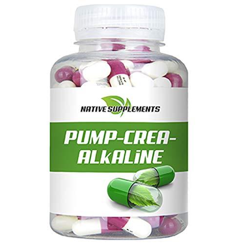 Pump Crea-Alkaline, 120 Kapseln pro Dose, Hochdosiert 6800mg / Tagesdosis, gepuffertes Kreatin, Hardcore Energy, Muskelaufbau Nahrungsergänzungsmittel