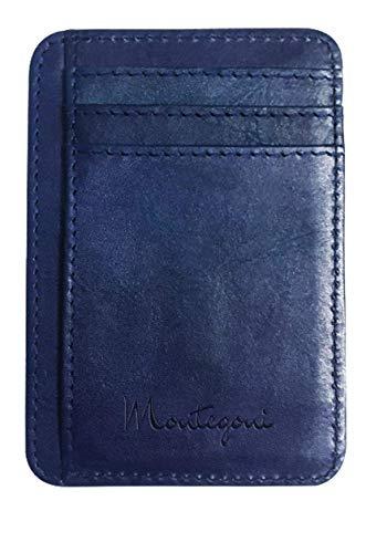 Montegoni® 100% Echtleder Kartenetui mit RFID Schutz, SEHR Slim und FLACH Kreditkartenetui, Kartenhalter für bis zu 12 Kreditkarten, Brieftasche, Mini Geldbörse, Slim Wallet