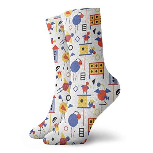 Kevin-Shop Klassiker Kompressionssocken, Bauhaus-Vogelhäuschen und Birds Sport Athletic 30 cm Lange Crew-Socken für Männer Frauen