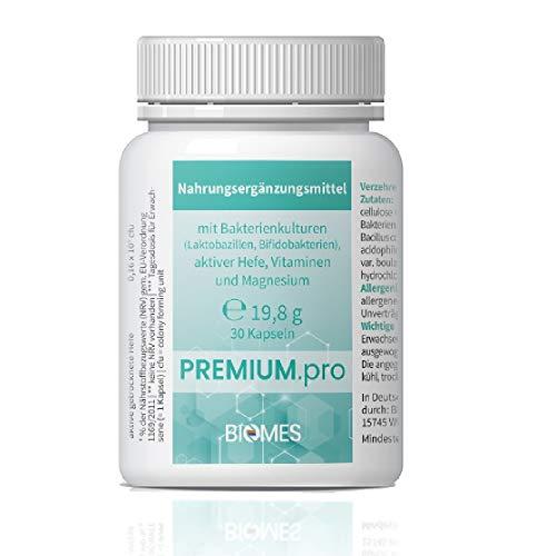 PREMIUM.pro probiotisches Nahrungsergänzungsmittel Darm Allrounder – 30 Kapseln – Bakterienkulturen (Laktobazillen, Bifidobakterien) aktive Hefe, Vitamine und Magnesium