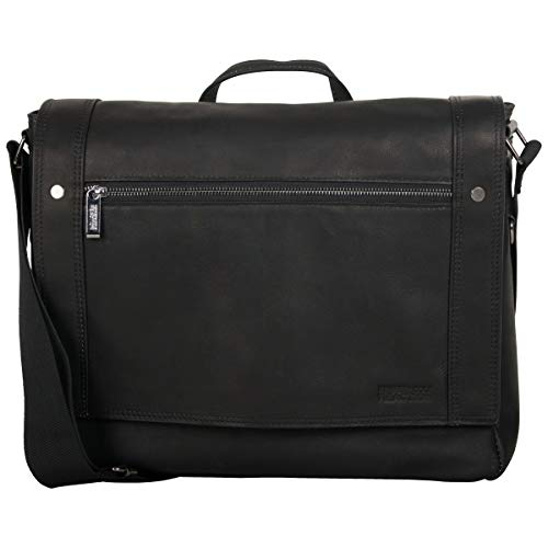 Kenneth Cole Reaction Men's Mess Essentials' Colombian Leather Business 15.6' Laptop Messenger Bag, Black