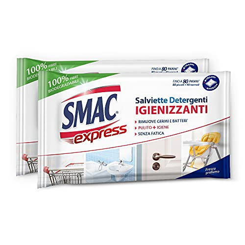 Smac Express - Salviette Detergenti Igienizzanti per Superfici, Rimuovono Germi e Batteri, Fresco Profumo, Fino a 80 Panni Piccoli x 2 Confezioni