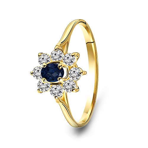 Miore - Anillo de compromiso para mujer, oro amarillo 585 de 14 quilates con piedras preciosas de zafiro azul y circonitas redondas (18)