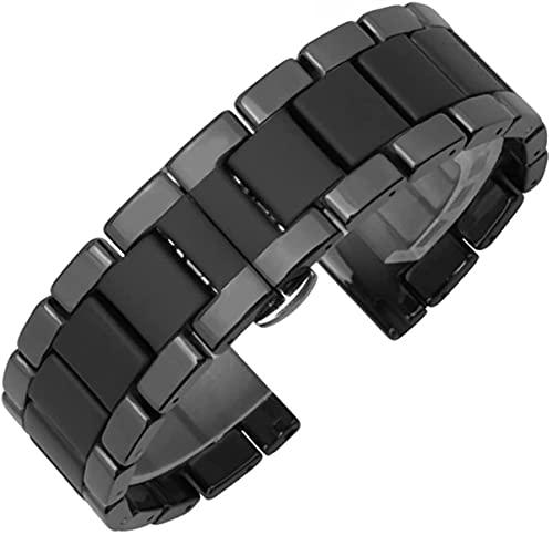 ZJSXIA Reloj Correa, Reloj Watch Smart Ceramic Watch Strap Sand Sand congelado Tres Correa de cerámica 20mm 22mm Pulsera Correas de Reloj (Color : Bright Edges, Size : 16mm)