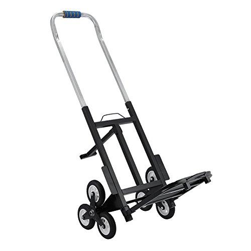 Tecmaqui Carretilla de Carga para Escaleras Capacidad de 150kg Carro Portátil de Escalera para Todos los Terrenos Carretilla Plegable con 6 Ruedas