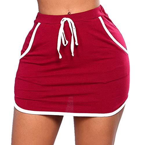 N\P Verano de las señoras de la falda de los lados blancos juradores de cintura elástica alta faldas cortas mujeres fitness