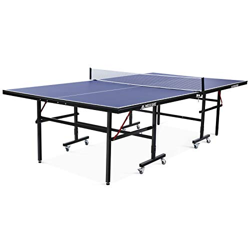 MaxKare 【Limited Promotion】 Ping Pong Table Table Tennis Table Portable Folding Ping Pong Table with WheelsStandard Size 9'x5' MDF Surface with Casters and Easy Attach Net for Indoor Use