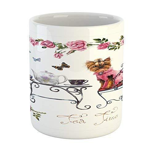 Koffie Mok 11 oz Thee Beker, Yorkie Mok, Yorkshire Terrier in Roze Jurk Het hebben van een Tea Party Thee Tijd Vlinders Rozen, Gedrukt Keramische Koffie Mok Water Thee Drankjes Beker, Bleke Roze Wit