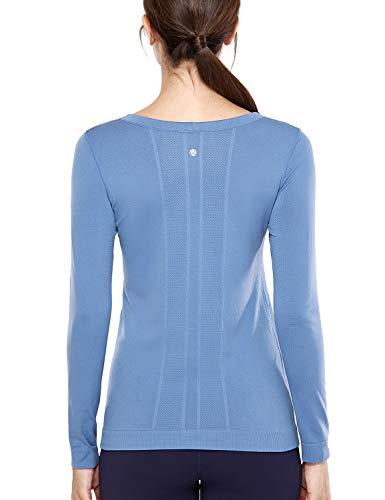 CRZ YOGA Damen Sport Shirt Langärmliges Yoga Shirt Nahtlos Atmungsaktiv,Laufshirt Laufen Fitness Grau Blau-R759 44