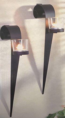 Dekoratives Wandkerzenhalter für Teelichter aus Metall 2er Set
