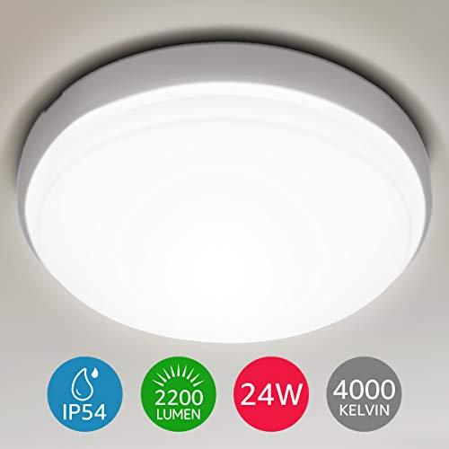 LE 24W Plafondlamp, IP54 Waterbestendige Badkamerlamp, 4000K Led-Plafondlamp, 2200lm Ø 26.5 cm Lamp, Ideaal voor Badkamer, Balkon, Gang, Keuken, Woonkamer, Neutraalwitte Badkamerlamp