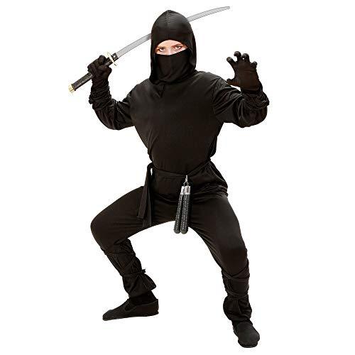 Widmann 02646 - Kinderkostüm, Ninja, Kapuzenmantel, Hose, Gürtel, Maske, Arm- und Beinbänder, Kämpfer, Schwertkämpfer, verschiedene Größen, Karneval, Motto Party
