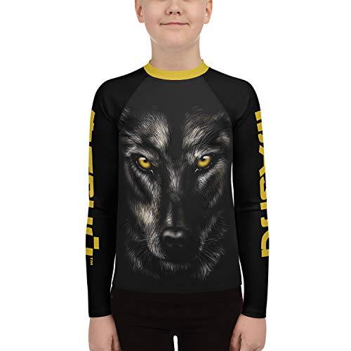 MASHU Fight Wear Black & Grey Lone Wolf Kids Boys Girls BJJ MMA Martial Arts Grappling Rash Guard Compression Shirt