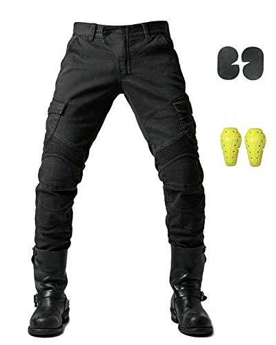 GELing Sportliche Motorrad Hose Mit Protektoren Motorradhose mit Oberschenkeltaschen ,Schwarz,M