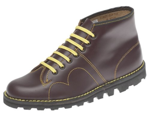 Grafters Herren-Schuhe, Monkey Boots, Retro-Stil Wine 11 uk