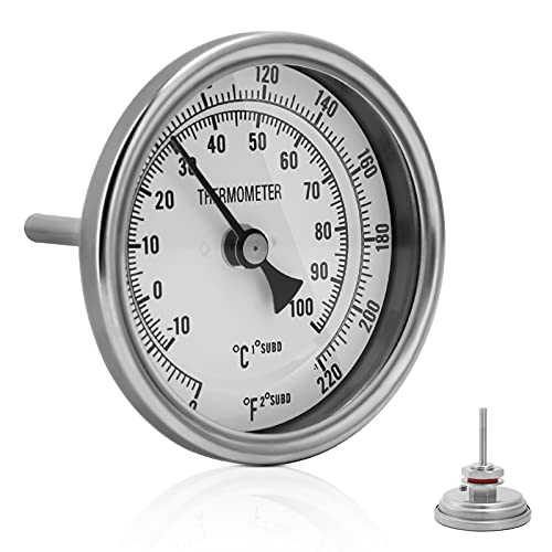 FERRODAY Stainless Steel Thermometer Dial Thermometer 1/2 NPT Homebrew Kettle Thermometer with Lock Nut & O-Ring ( 0-220ºF, -10-100ºC)