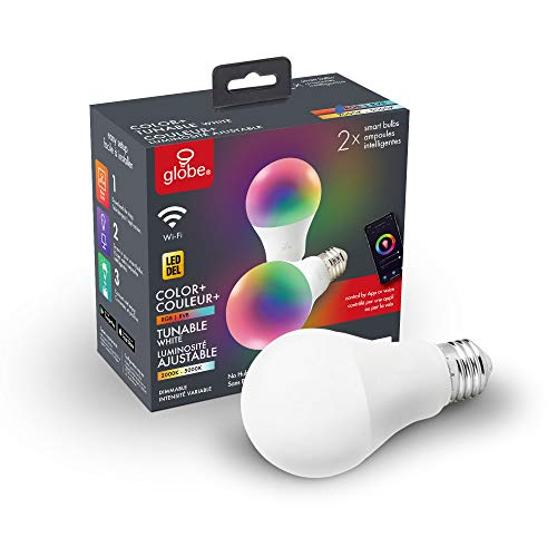 Globe Electric 34207 Wi-Fi Smart 10 Watt (60W Equivalent) Multicolor Changing RGB Tunable White Frosted LED Light Bulb 2-Pack, No Hub Required, Voice Activated, 2000K - 5000K, A19 Shape, E26 Base
