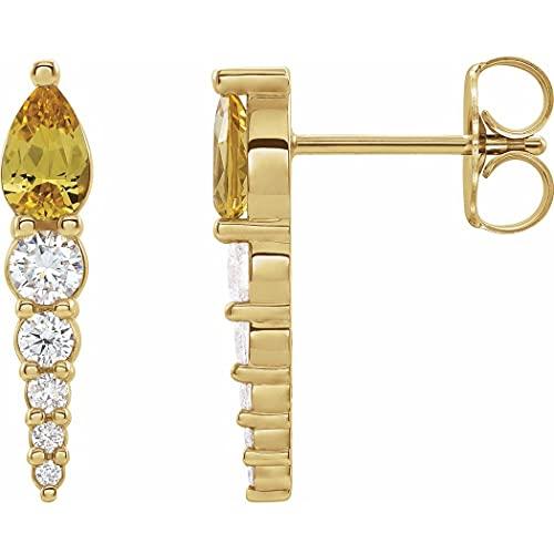 Pendientes de oro amarillo de 14 quilates con citrino pulido y diamantes de 0,25 quilates para mujer