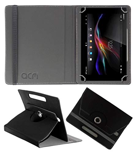 Acm Rotating Leather Flip Case Compatible with Sony Xperia Z Tablet Cover Stand Black