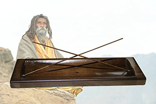 Large Incense Burner & Incense Sticks Gift Set - Hand Made, Solid Wood, Zen Holder Catches All The Ashes, 20 Incense Sticks - New