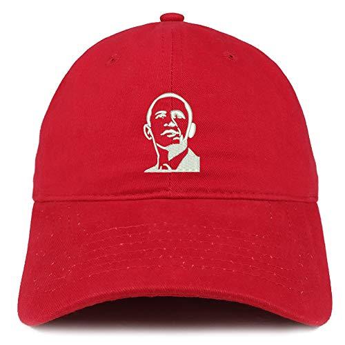 Trendy Apparel Shop Barack Obama Portrait Embroidered Brushed Cotton Cap - Red