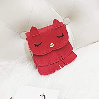 Adebie - Cute Child Kids Girls Little Foxes Animal Mini Messenger Bags Pu Leather Tassel Shoulder Crossbody Bag Candy Coin Handbags Purse Red []