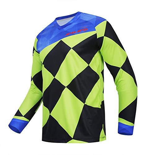 Weimostar Radfahren Jersey Herren Mountainbike Motocross Trikot Langarm MTB T-Shirt Downhill Tops Sport Rennbluse grün XXL