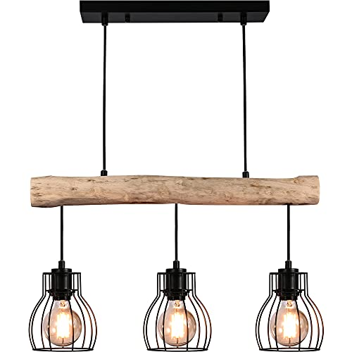 Zicbol Pendelleuchte Esstisch Holz Rustikal Hängelampe Hängeleuchte, 3 x E27, Max.60W, Höhe Max.100CM, Geeignet für: LED Leuchtmittel, Eco-Halogen Leuchtmittel, Energiesparleuchtmittel