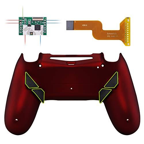 eXtremeRate Dawn Programable Remap Kit Botón de Reasignación para Playstaion 4 con Board de Actuelización&Carcasa Trasera Diseñada&4 Botones Traseros para Mando PS4 JDM 040/050/055(Rojo Esmerilado)