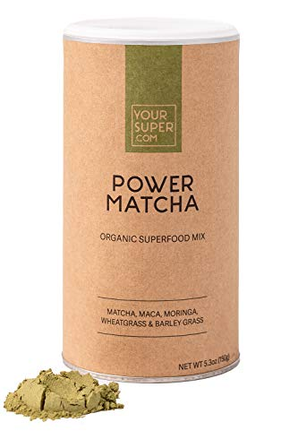 Your Super Power Matcha Superfood Mix - Fokus- und Energiemischung auf Pflanzenbasis, Grünteepulver, natürliches Koffein, Antioxidantien & essentielle Vitamine, Non-GMO, Bio-Maca (30 Portionen, 150g)