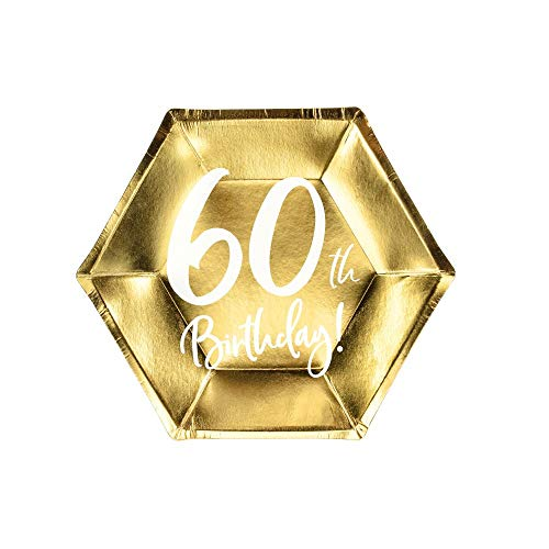 Party Deco Lot de 6 Assiettes en Papier dorées pour 60e Anniversaire 20 cm x 6