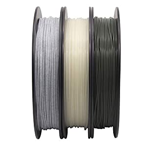 ECHEN PLA Filament 1.75mm Set, Glow in The Dark Blue, Marble and Temp Color Change from Dark Grey to Orange to Yellow 3D Printer Filament +/- 0.03 mm, 3 x 0.5KG, Includes Sample Wood Filament.