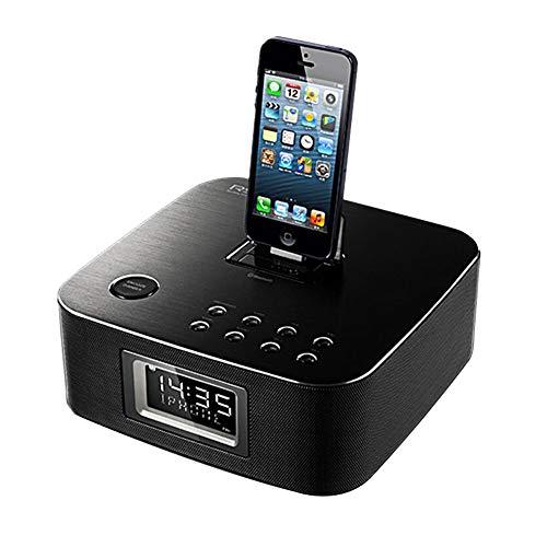 hll-036 Reloj Despertador de Carga inalámbrica con Altavoz Bluetooth Compatible con iPhone X iPhone8 Radio USB de FM para durmientes Pesados