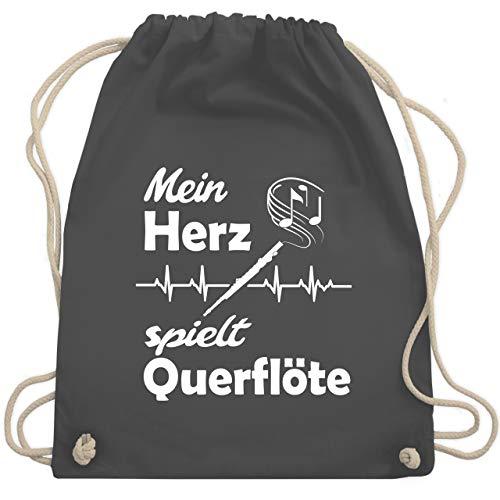 Shirtracer Instrumente - Mein Herz spielt Querflöte Herzschlag - Unisize - Dunkelgrau - turnbeutel instrument - WM110 - Turnbeutel und Stoffbeutel aus Baumwolle