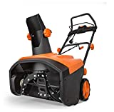 TACKLIFE Snow Blower, 15 Amp Electric Snow Thrower, 24 tons Snow Throwing/Hour, 20'' Width & 10'' Depth, 180° Rotatable Chute, 4-Blade Steel Auger, Compact Storage & Easy Mobility