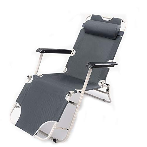 CHenXy silla de playa, oficina plegable cama simple almuerzo descanso reclinable portátil...