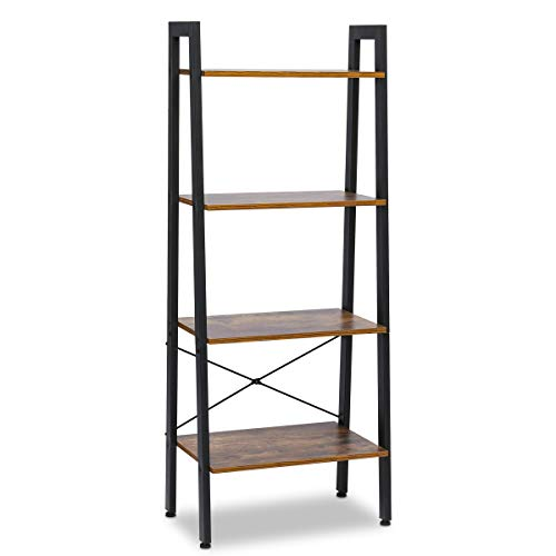 SCOZER 6-Tier Industrial Bookcase with Metal Frame, Adjustable Tall Standing Bookshelf Eatagere Display Racks, Vintage Wood Open Ladder Shelves for Home Office