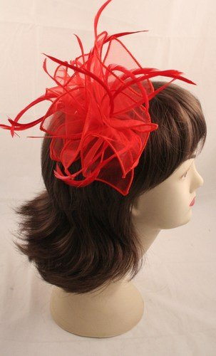Large Red Fabric Feather Fascinator On Clear Comb