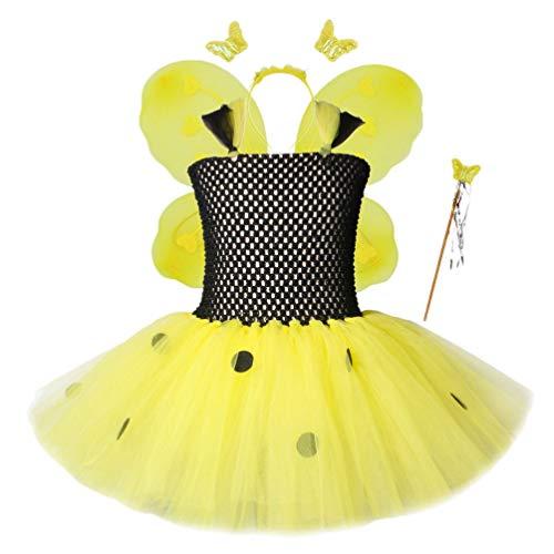 KESYOO Conjunto de Disfraces de Abejas ala de Abejas Tutú de Disfraces Disfraz de Fiesta para Niñas Disfraz de Fiesta de Disfraces de Abejas (para 6-7 Años)