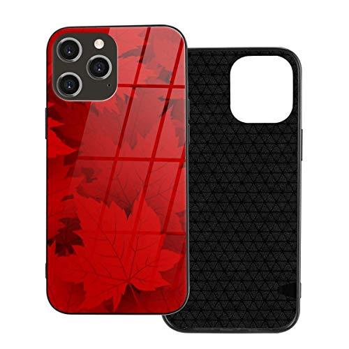 Custodia per telefono Canada Red Maple Leaves Cover per iPhone 12/12 mini/12 Pro/12 Pro Max Cover posteriore in vetro temperato + TPU per iPhone 12 Pro-6.1 pollici