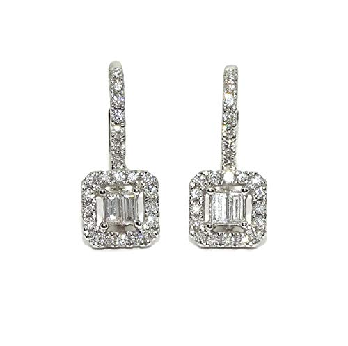 Stunning 18k White Gold 0.52ct Diamond Stud Earrings for Women - Monacola Backing, 1.5cm Length, 2.8 Grams of 18k Gold
