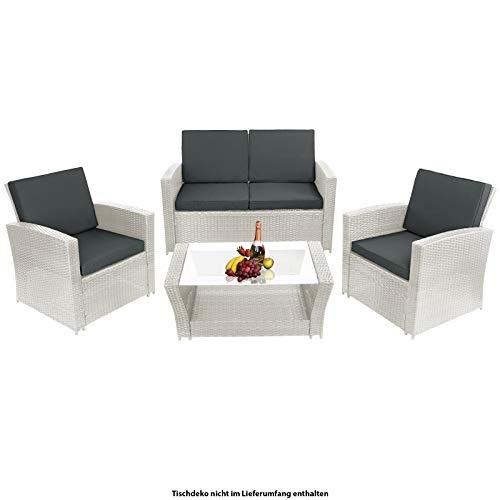 Montafox 12-teilige Polyrattan Sitzgruppe 4 Personen 5 cm Sitzpolster Tisch Glasplatte Balkonmöbel Set Sitzgarnitur Weiß, Farbe:Diamantweiß/Nachtschwärmergrau
