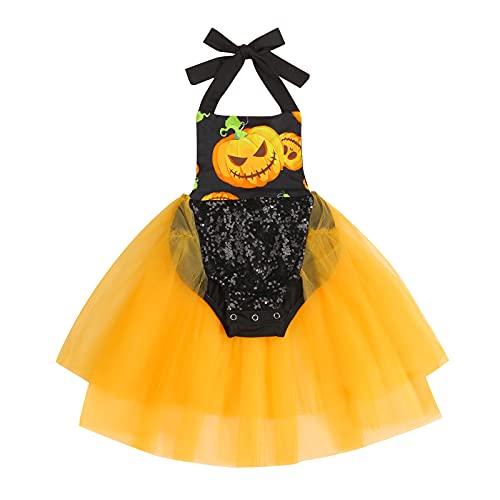 Mameluco de lentejuelas con estampado de calabaza para recién nacido, sin mangas, mono de una pieza, disfraz de Halloween, Naranja Negro, 18 meses