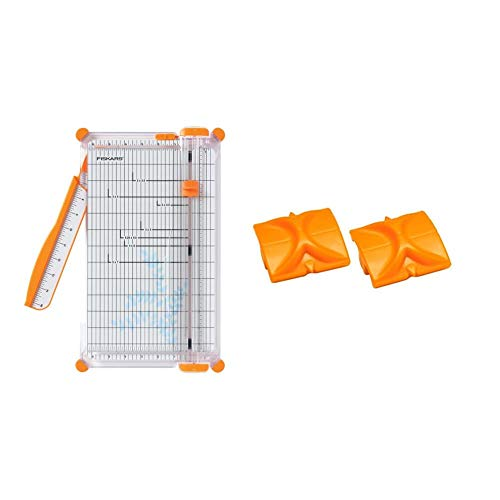 Fiskars 152490-1004 SureCut Deluxe Craft Paper Trimmer, 12 Inch & TripleTrack Replacement Blades, Style I (196750-1001),Orange