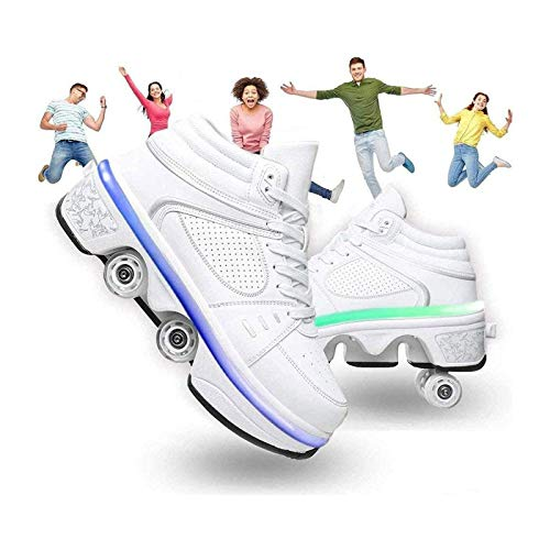 HANHJ Zapatos para Niños con Ruedas Patines Roller Mujer Roller Skate Shoes Polea Zapatos with Ruedas 7 Color LED Light up Deportivos Shoe Run Shoes Rodillo Shoes para Unisex,White-34