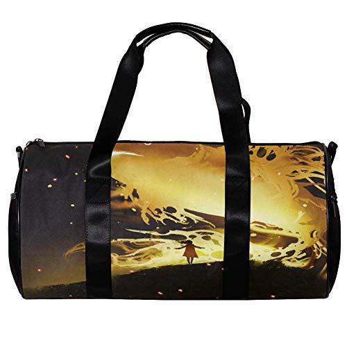 TIZORAX Seesack für Damen und Herren, riesige Fische, schwimmend im Nachthimmel, Sport, Fitnessstudio, Tragetasche, Wochenende, Übernachtung, Reisetasche, Outdoor-Gepäck, Handtasche