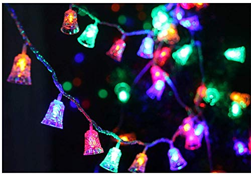 Ambient Light 1.2M Solar Powered Christmas LED Bell String Lights Tree Icicle LED Bulbs Home Xmas Decoration (Color : Multicolor)