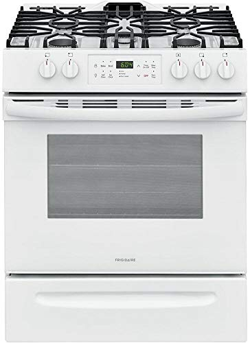 Frigidaire FFGH3054UW 30' Slide-in Gas Range with 5 Burners 5 Cu. Ft. Oven Capacity Self Clean and Storage Drawer in White